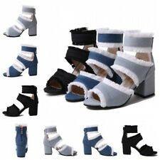 Summer Womens Open Toe Denim Ankle Boots Zipper Sandals Shoes Party Gladiators L