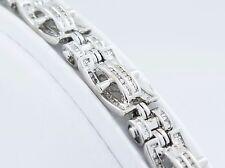 14k White Gold 4TCW Diamond Cluster Link 8.5in Bracelet