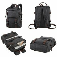 BNWOT Unisex Thick Canvas Backpack Rucksack School Hiking Laptop Bag Black