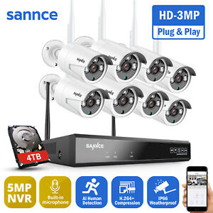 SANNCE 3MP Wireless CCTV Camera System 5MP 8CH NVR IP Cameras Home Security Kit