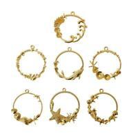 7Pcs Seashell Round Blank Pendant Resin Frame Open Bezels Setting Jewelry Making