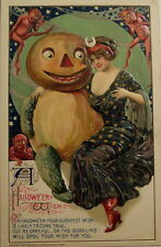 Halloween Poster par John WINSCH 1912 7x5 pouces réimpression, Femme Citrouille