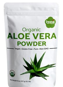 Aloe Vera Powder Certified Organic, Colon health, Hair and Skin care, 4,8,16 oz