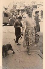 BL684 Carte Photo vintage card RPPC femme chien dog voiture 2CV