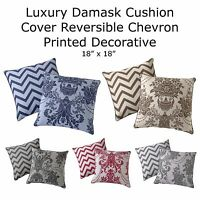 "Luxury Damask Cushion Cover Reversible Chevron Printed Decorative 18"" x 18"""