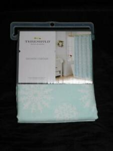 Threshold Light Blue White Snowflake Shower Curtain NEW 72 x 72 in Fabric Target