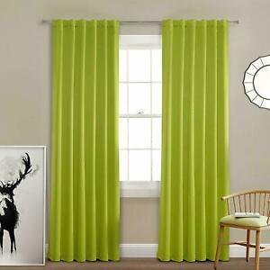 Multi Colour Thermal Insulated Window Blackout Curtains Back Tab & Rod Pock Pair