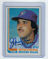 1982 BREWERS Moose Haas signed card Topps #12 AUTO Autographed Milwaukee AL Chmp