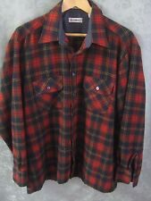 80's Kentfield Shadow Plaid Soft Acrylic Flannel Shirt Size Lrg Hiking Camping