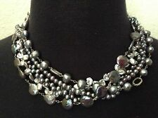 """EXEX DESIGN,CLAUDIA AGUDELO,STERLING SILVER 5 STRAND FR WATER PEARL NECKLACE 18"""""""