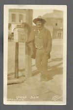 Rapid City SOUTH DAKOTA RP 1909 SIOUX INDIAN Man UNCLE SAM Mail Box LEELAND ART