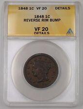1848 US Braided Hair Large Cent Coin ANACS VF-20 Details Reverse Rim Bump