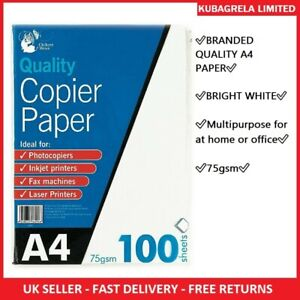 75 Sheets A4 Copier Paper 75gsm Bright White Printer Fax Injet Office Printing