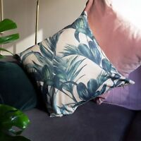 Pink and Green Leaf Plant Palm Botanical  themed style Interior Cushion Cover