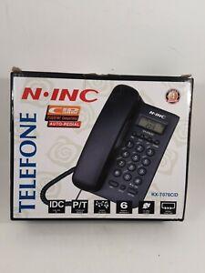 N-INC Telefone Corded Landline Phone-Caller ID, Redial, Music on Hold, Alarm