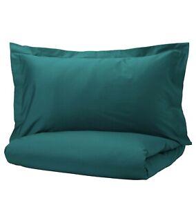 New IKEA LUKTJASMIN King Duvet cover Two pillowcases, Dark Green, 310 TC