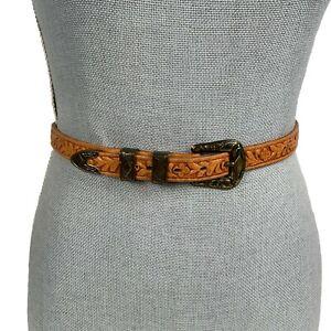 Vintage JUSTIN Western Tooled Leather Belt Size 34 Brown Gold Hardware 3006A