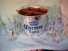 Corona Extra Beer Gift Set Metal Bucket 4, 16 Oz. Pub Glasses  NICE SET