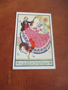 Joyce Mercer Art Deco Children postcard, Cock-A-Doodle-Do, Faulkner Series 1896