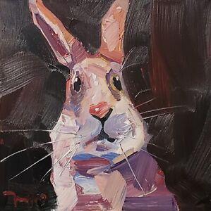 JOSE TRUJILLO Oil Painting IMPRESSIONISM CONTEMPORARY BUNNY RABBIT PORTRAIT NR