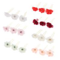 3x Flower Hairpins U Shape Hair Sticks Bridal Bride Headdress Hair Pin Clip