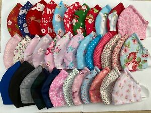 Handmade cotton face mask reusable washable double layer nose wire virus uk
