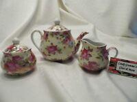 American Atelier Rose Bud  Tea Pot Creamer and Sugar