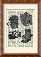 Art Print - Vintage Camera - on Antique Book Page - Brownie Rolleiflex Leica
