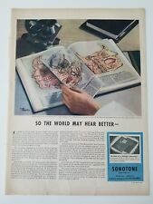 1946 Sonotone hearing aid book of anatomical transparencies of ear ad