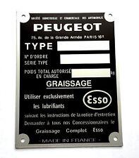 Plaque constructeur PEUGEOT - PEUGEOT  vin plate - Typenschild PEUGEOT
