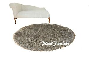 """5' 58"""" Round Accent Area Rug Black Tip Wolf Furs Faux Fur Rug"""