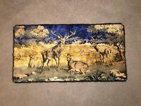 Vtg Stag Elk Deer Family Cabin Lodge Woods Decor Tapestry Wall Hanging Art Rug