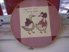 wood framed picture of two Geese/Vintage Geese cross stitch hoop picture frame
