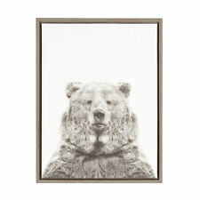 Sylvie Bear Black and White Portrait Gray Framed Canvas Wall Art by Simon Te Tai