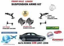 FOR ALFA ROMEO 156 1997-> 2X FRONT LOWER WISHBONE ARMS STABILISER LINKS + BUSHES