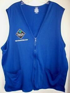 NEW Sam's Club Employee Uniform Vest Adult XL Blue Pockets Zipper Work Polyester