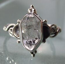 Sterling silver everyday Herkimer diamond quartz stone ring UK Q¾-R/US 8.75