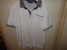 Men's White with blue trim Polo Short Sleeve Shirt  M/L