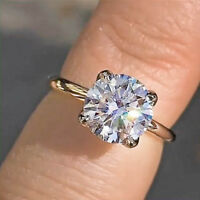 2Ct Round Cut Solid 10k Yellow Gold Solitaire Diamond Engagement Ring