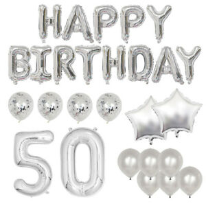 Happy 50th Birthday Deluxe Silver Foil Balloon Party Kit - Includes 25+ Balloons