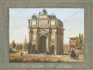 """Arco Trionfale di S.Gallo, Florence"" by Giustino Carocci (b.1829), gouache"