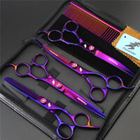 7 inch Pet Dog Hair Grooming Shears Set Groomer Curved Thinning Cutting Scissors