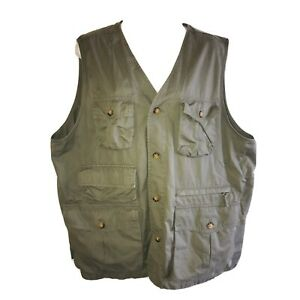 Lands End Mens Vest Hunting Fishing Gray Button Front Distressed Large 42/44 B18