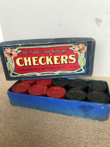 Rare & Vintage Embossing Company's Wooden Checkers in Orig Box ~ Circa 1920's~