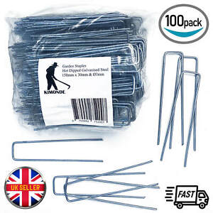 Weed Fabric Galvanised Staples Garden Turf Securing Pegs U Pins Artificial Grass