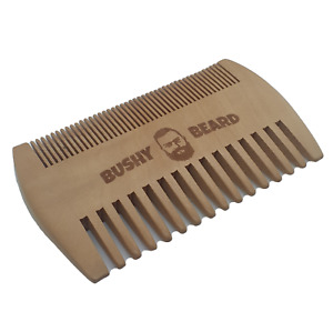 BUSHY BEARD - Moustache Wooden Dual Sided Hair Comb - Mens Grooming Styling