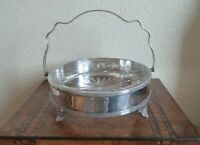 ANTIQUE LARGE SILVER PLATED TABLE BASKET WITH GLASS INSERT-VERY GOOD CONDITION