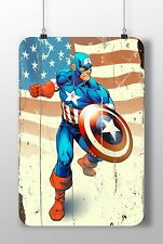 METAL SIGN Captain America #3 Superheroes Great Poster Home Decor Garage Rusted