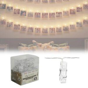 Foto clip 10 LED - Portafoto catena luminosa per appendere immagini e foto 210cm