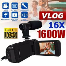 Digital Video Camera Camcorder 16X Zoom HD 1080P Vlogging Recorder W/Microphone